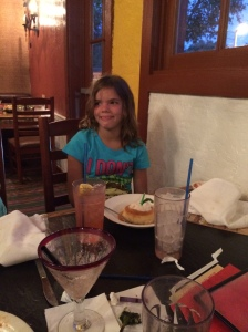 Birthday Flan at El Torito after the water park.