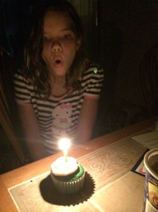 Late night after the waterpark and cake was not finished.  Consolation birthday cupcake before bed.