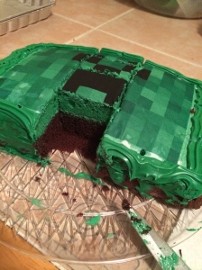 Minecraft grass block/creeper cake.