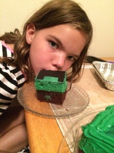 Angelina loves her Minecraft cake.